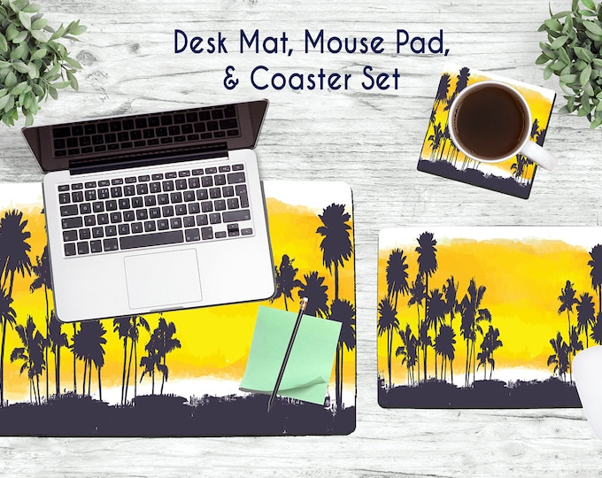 Yellow Palm Tree Desk Set - Desk Accessories - Mouse Pad - Desk Mat - Coaster - Monogram Mouse Pad - Palm Trees  -  Office Desk Set