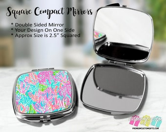 Custom Lilly Pulitzer Inspired Monogrammed Compact Mirror - Bachelorette Gift - Wedding Party Gift - Coach Gift - Teacher Gift - Graduation