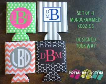 Set Of 4 Personalized Monogrammed Coolers - Perfect For Bachelorette Parties, Holiday Parties, Weddings, and Other Occasions