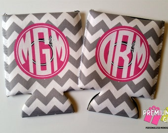 5 Monogrammed Bachelorette Can Coolers - Monogram Can Coolers - Personalized Can Coolies - Can Coolers - Can Coolies - Beverage Insulators