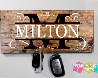 Personalized Family Name - Key Holder -  - Made of MDF - Holiday Gift - Anniversary - grand parent gift- new house gift - Design #KH142
