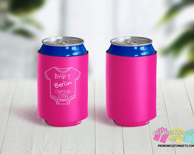 Baby Announcement Can Coolers - Personalized Can Coolers - Bachelorette Can Cooler - Custom Coolies -  Baby Shower Can Coolers -Party Favors