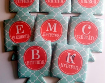 Set of 8 Monogrammed Can Coolers - Bachelorette Can Coolies - Vacation Can Coolers - Bottle Beverage Insulators - Beer Bottle Can Coolers