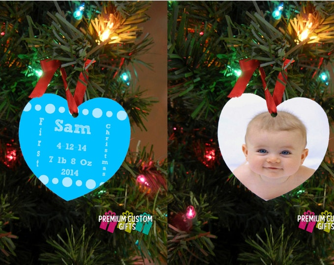 Baby's First Christmas Ornament - Design Your Way - New Parent - Baby Shower Gift - Christmas Gift- Two Sided Heart Shaped Design #OR113