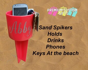 Personalized Beach Sand Spiker - Beach Cup Holder - Monogrammed Beach Cup - Sand Spike - Add Optional Icon For Small Additional Fee
