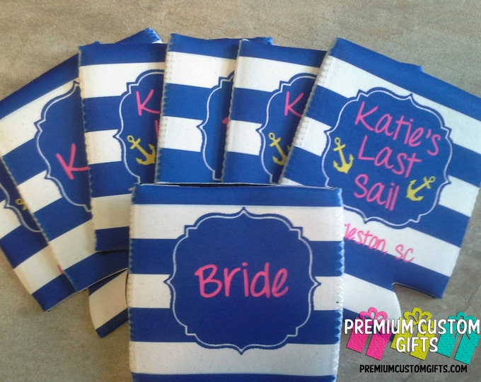 7 Bachelorette Can Coolers - Personalized Can Coolers - Trip Coolies - Personalized Can Coolers - Birthday - Bachelorette Can Coolies
