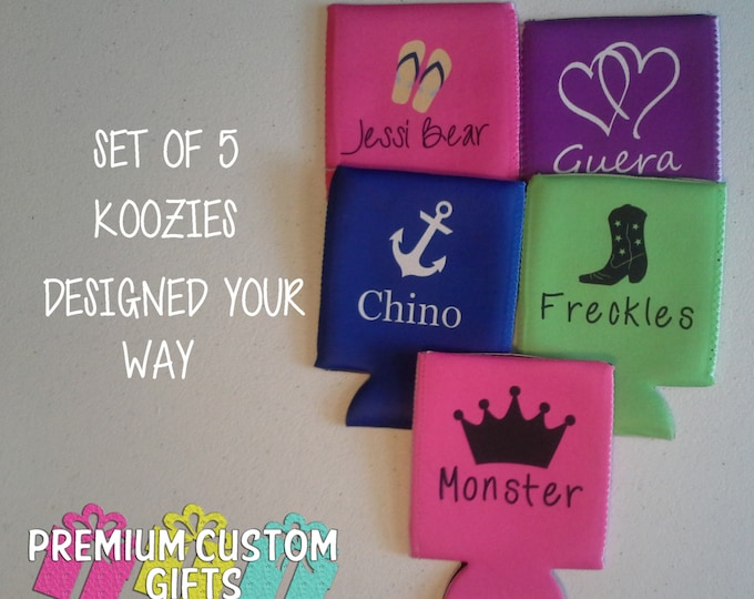 5 Personalized Coolies - Bachelorette Party Can Coolers - Vacation Can Coolers - Kids Can Coolers - Beer Can Coolies - Set of 5 Can Coolers