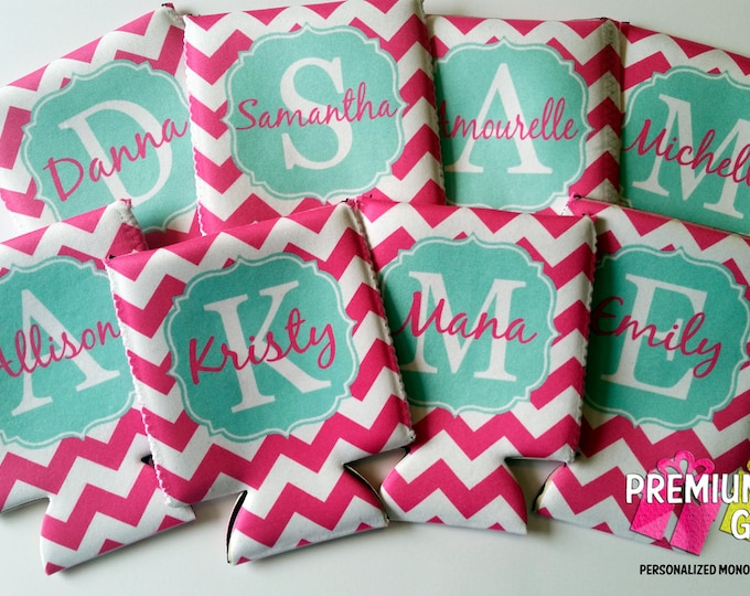 Set of 8 Monogrammed Can Coolers - Personalized Can Coolies - Custom Beverage Insulators - Vacation Can Coolers - Bachelorette Can Coolers