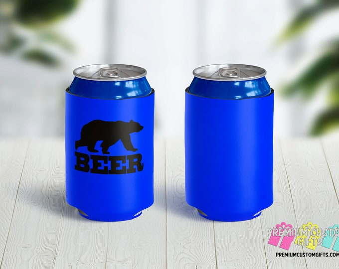 Bear Beer Custom Can Coolers - Personalized Can Coolies - Beer Can Coolers - Custom Can Coolies - Party Can Coolers - Bachelor Can Coolers