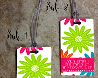 Rectangle Monogrammed Luggage Tag - Custom Travel Luggage Tag - Bag Tags - Personalized Monogram Bag Tag - Rectangle Tag - Design #RBT101