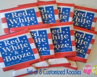 Set of 8 Customized Neoprene or KOOZIE ® Brand - Custom Beer Can Coolers  - Party Coolers - Wedding Coolers - Bachelorette KOOZIE ®