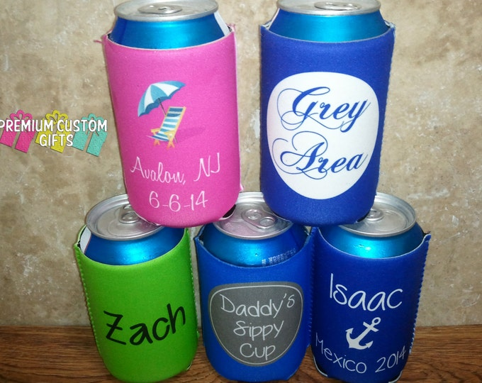 Set of 5 Personalized Can Coolers - Wedding Favor - Custom Can Coolers - Neoprene Can Coolers - Bachelorette Party - Vacation Can Coolies