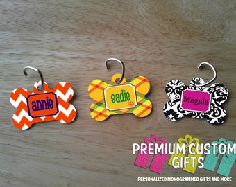 Personalized Bone Shaped Pet Tag With Your Pet's Name. Choose Your Design And Colors. Purchase Individually or as a Set Design#DT100