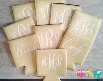 Set of 9 Monogrammed Can Coolers - Wedding - Bachelorette Monogram Can Cooler - Design#KH166