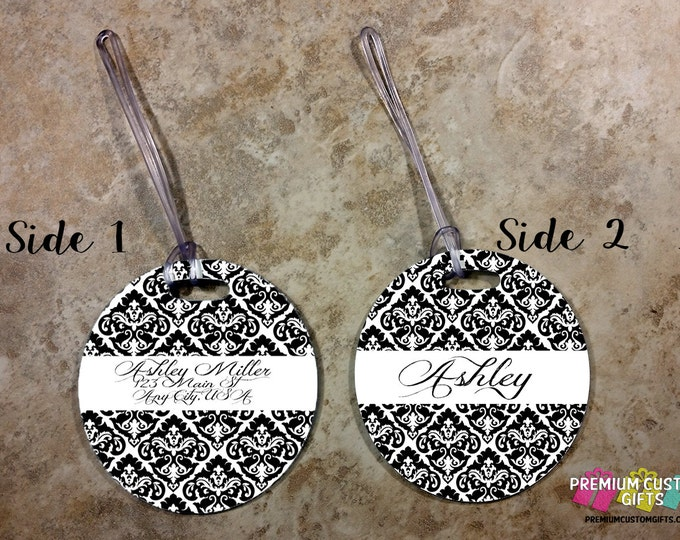 Personalized Round Bag Tag - Luggage Tag - Travel Luggage Tag - Backpack Tags - Laptop Bag Custom Tag - Personalized Tag - Design #BT100