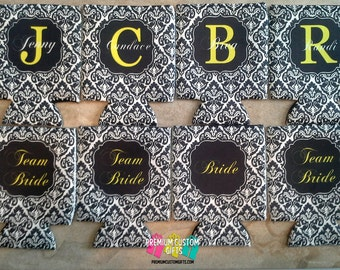 8 Custom Team Bride Can Coolers - Personalized Bachelorette Can Coolies  - Beer Can Coolers - Wedding Coolers - Birthday Coolies - Vacation