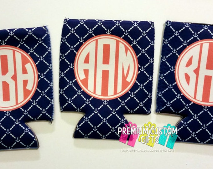 Monogram Can Coolers - Vacation Can Coolies - Personalized Can Coolers - Wedding Favors - Bachelorette Can Cooler - Custom Can Cooler