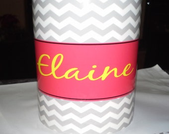 Monogram 11 0z Ceramic Mug With Chevron Background Personalize With Name of Your Choice