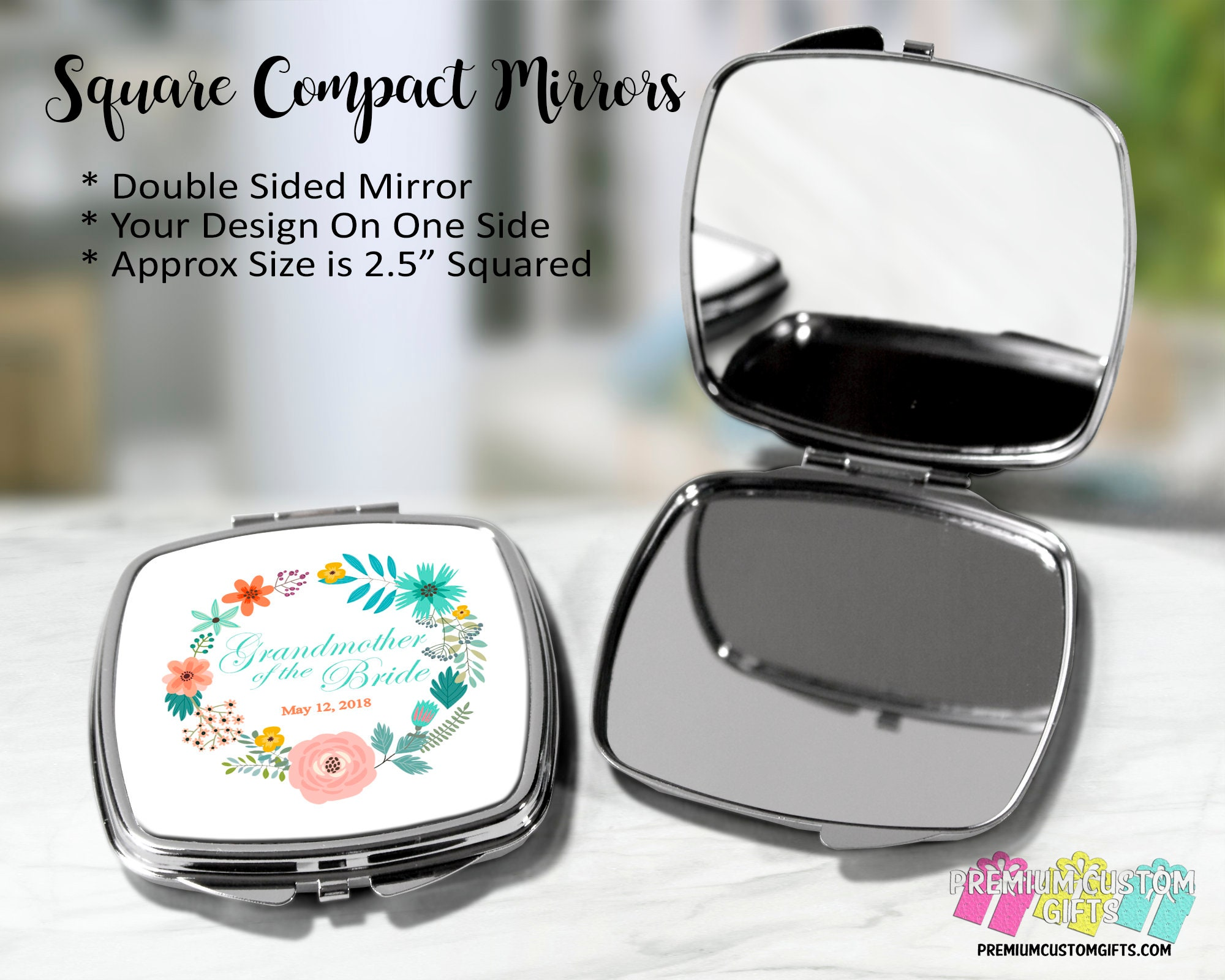 Personalized Grandmother Of The Bride Compact Mirror Bridal Party