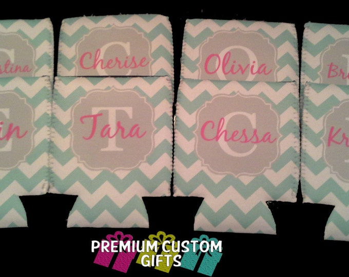 8 Personalized Can Coolers - Bachelorette Party  - Wedding Favors - Monogrammed Can Coolers - Vacation Can Coolers - Birthday Can Coolers