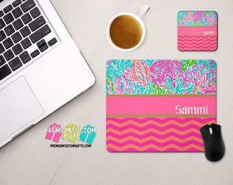 Personalized Mouse Pad and Coaster Set - Chevron and Lilly Pulitzer Inspired - Monogrammed Mouse Pad - Custom Mouse Pad - Custom Coaster