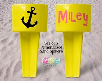 Set of 2 Monogram Beach Sand Spikers - Beach Sand Spiker - Monogrammed Beach Cup Holder - Beach Cup Holder - Valentine's Day - Drink Holder