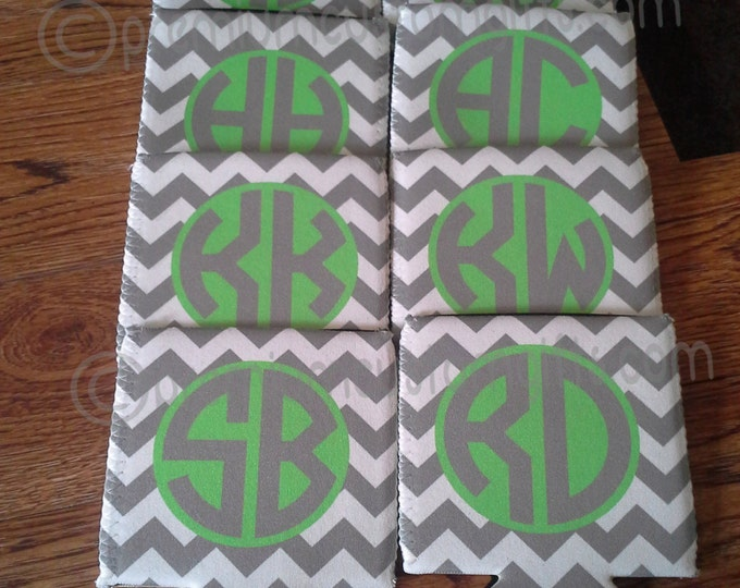 Monogrammed Can Coolers - Personalized Bridesmaids Can Coolers - Custom Can Coolers - Birthday Favors - Bachelorette Can Coolers
