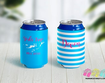 Girls Trip Vacation Can Coolies - Monogrammed Can Coolers - Custom Can Coolers - Destination Can Coolies - Beer Can Coolers - Personalized