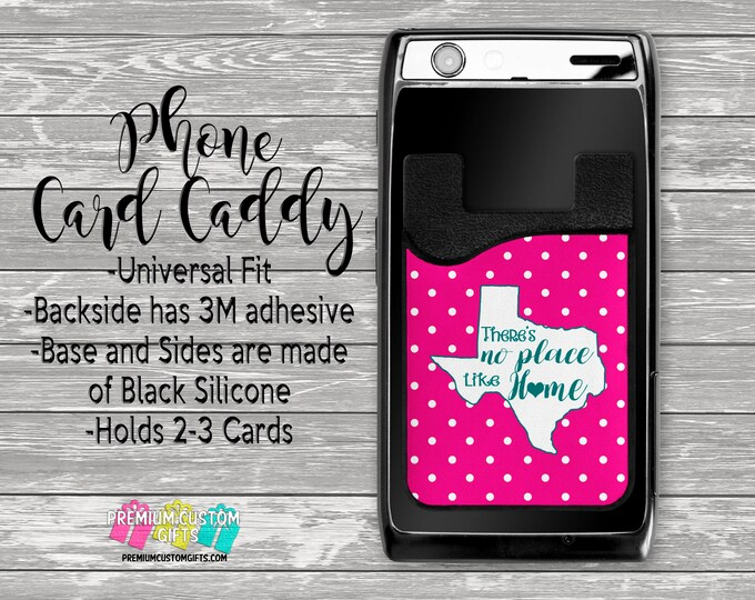 Custom State Phone Card Caddy - Personalized Card Holder - Phone Accessories - Gift For Her - Phone Wallet - Custom Card Holder  - Wallet