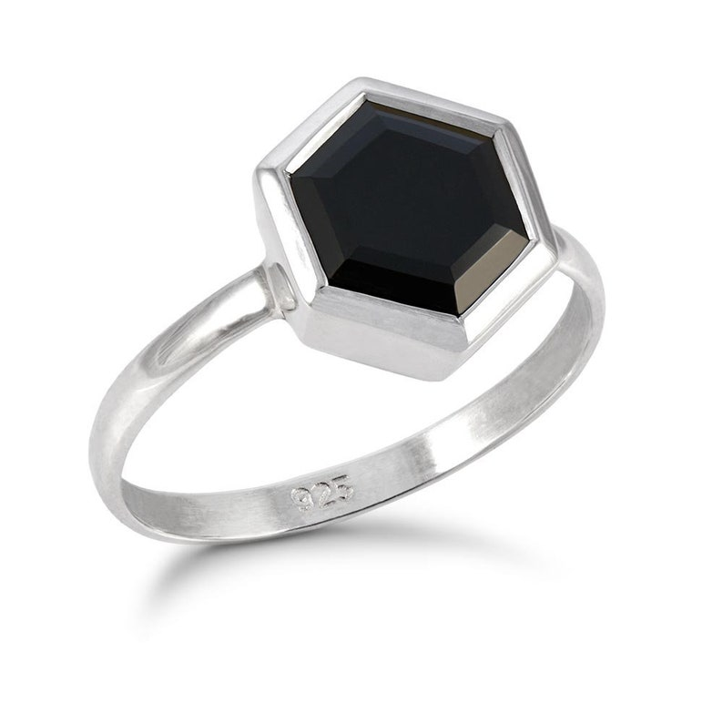 Large Silver Hexagon Ring with Faceted Black Onyx
