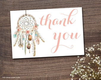 INSTANT DOWNLOAD - Dream Catcher Thank You Card Boho Bohemian  - Watercolor Feather Dreamcatcher Thank You Note - Tribal - 0332 0333 0334