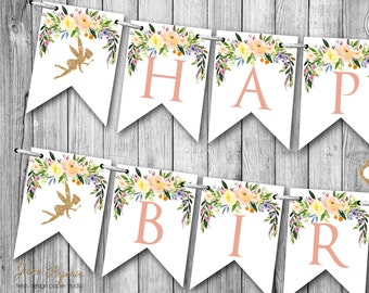 INSTANT DOWNLOAD - Glitter Garden Fairy Happy Birthday Banner - Woodland Pixie Birthday Party Banner - Fairy Birthday Party Banner - 0443