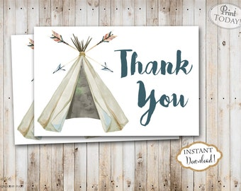 INSTANT DOWNLOAD - Boy Teepee BohoThank You Card Boho Bohemian  - Watercolor Feather Pow Wow Wild One - Thank You Note - Tribal - 0441 0442