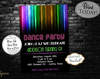 INSTANT DOWNLOAD - Neon Glow Party Dance Party Birthday Invitation - Dance Party - Disco - Glow Birthday Invitation - Neon Rainbow Disco