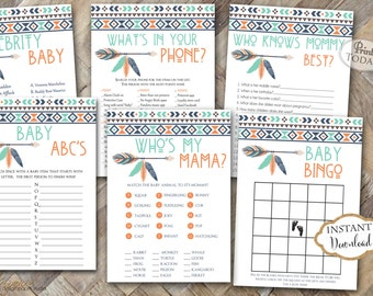 INSTANT DOWNLOAD - Navy Orange Mint Aztec Tribal Printable Baby Shower Games - Pow Wow Shower Feather Arrow Tribal Baby Shower Games - 0140