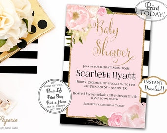 INSTANT DOWNLOAD - Black Stripe BABY Shower Invitation Glitter Pink Peony Watercolor - Blush Pink Floral - Black Stripe Gold Floral - 0133