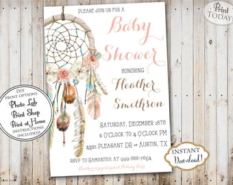INSTANT DOWNLOAD - Dream Catcher Baby Shower Invitation Boho Bohemian  - Watercolor Feather Dreamcatcher Baby Shower - Tribal Aztec - 0332