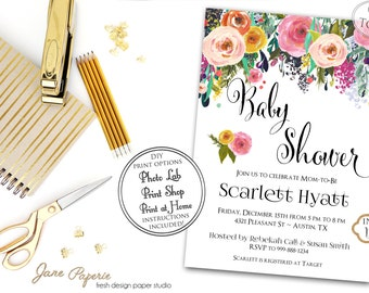 INSTANT DOWNLOAD - Floral Watercolor Gold Glitter Watercolor Baby Shower Invitation - Pink Floral - Gold Glitter Floral Baby Shower - 0123