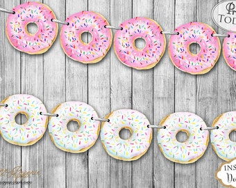 INSTANT DOWNLOAD - Pink Donut Party Banner - Donut Birthday Banner - Donut Party Decoration - Donut Party Garland - Donut Bunting 0233 0234