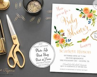 INSTANT DOWNLOAD - Fall Floral BABY Shower Invitation - Pumpkin Orange - Little Pumpkin Yellow Floral -Fall Baby Shower Invite - 0146