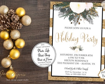 INSTANT DOWNLOAD - Glitter Stripe Floral Christmas Invitation - Holiday Party Invitation - White Christmas - Glitter White Stripe Floral