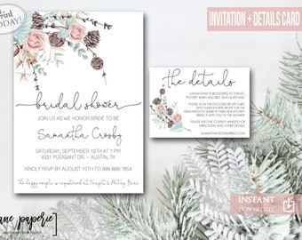 winter bridal shower invitation greenery christmas floral instant download editable holiday shower rustic evergreen cotton 0885