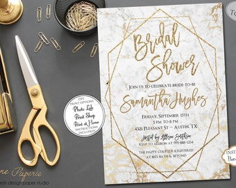 INSTANT DOWNLOAD - Marble Bridal Shower Invitation - Gold Glitter - Modern Geometric Invite - White Rose Gold Copper Metallic Bridal 0662