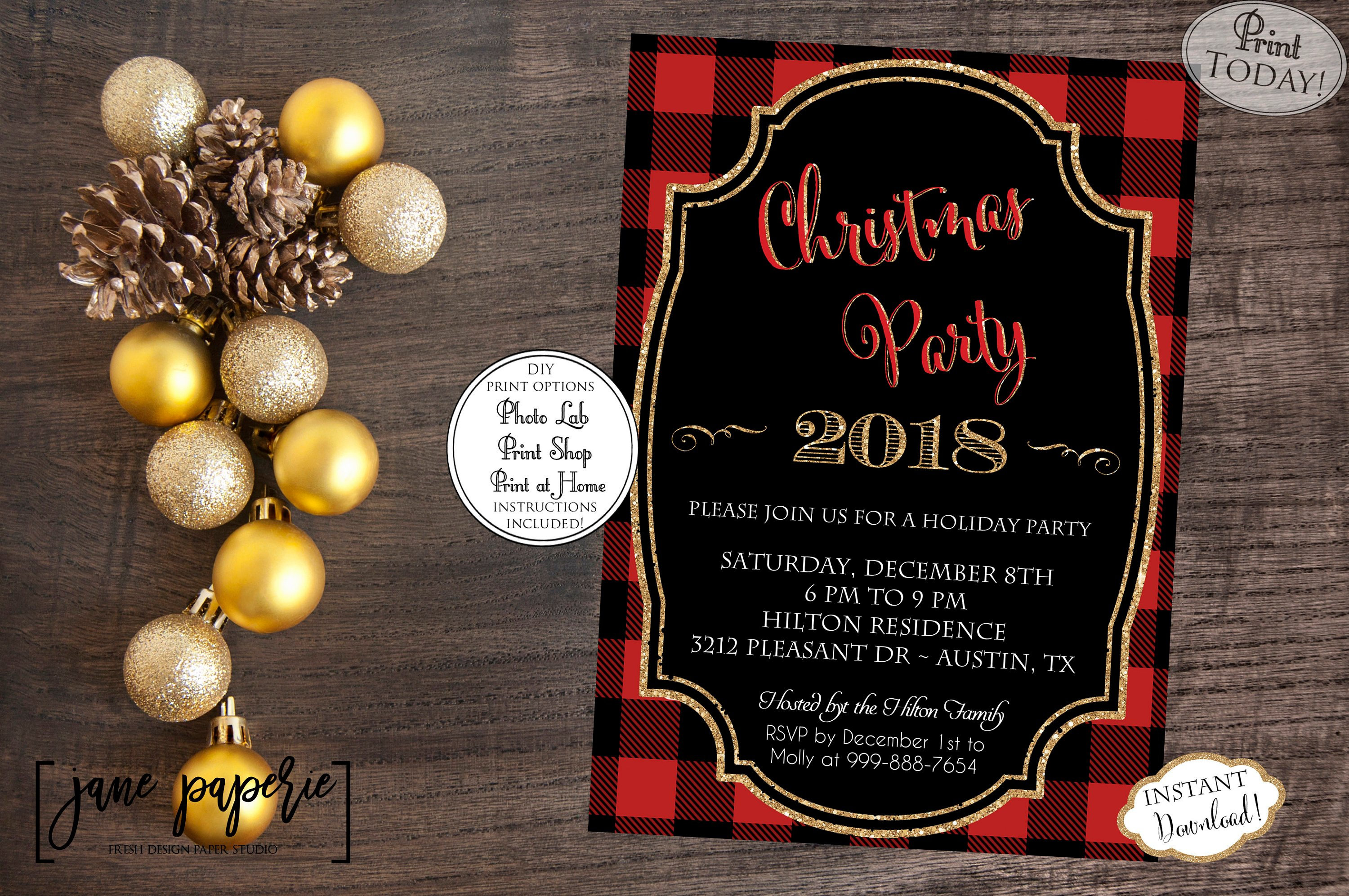 INSTANT DOWNLOAD Buffalo Plaid Christmas Party Invitation