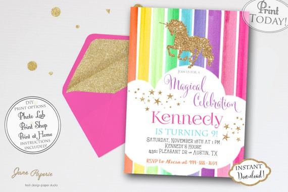 Instant Download Rainbow Unicorn Birthday Party Invitation Etsy