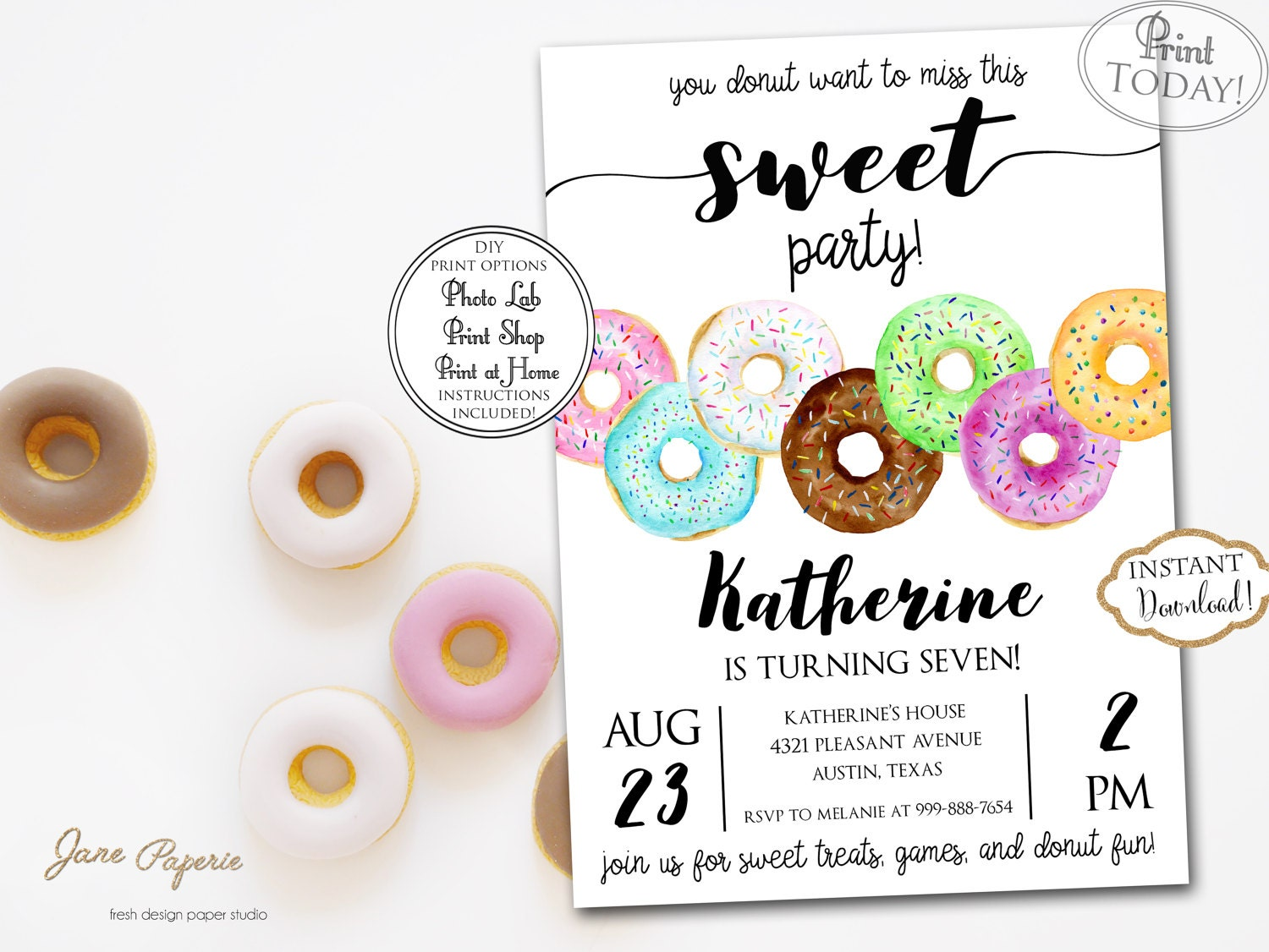 INSTANT DOWNLOAD Donut Party Invitation Donut Themed | Etsy