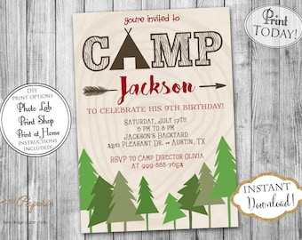 INSTANT DOWNLOAD - Boy Camping Birthday Invitation - Campout Invite - Outdoor Lumberjack Birthday Party - Camp - Sleepover Slumber - 0207
