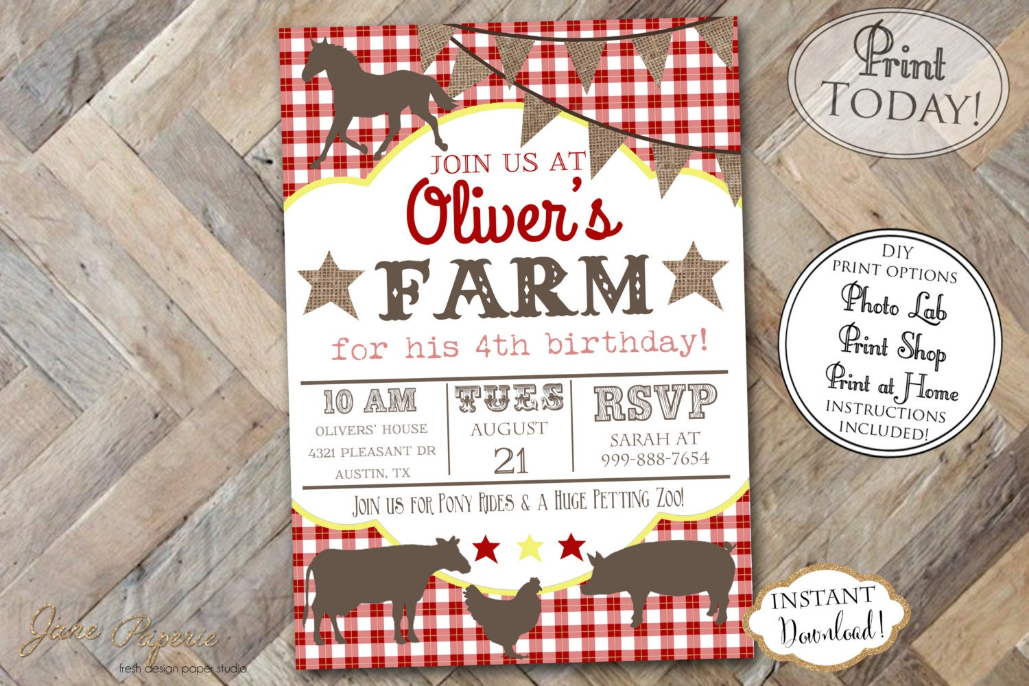 INSTANT DOWNLOAD Farm Birthday Invitation Red Gingham | Etsy