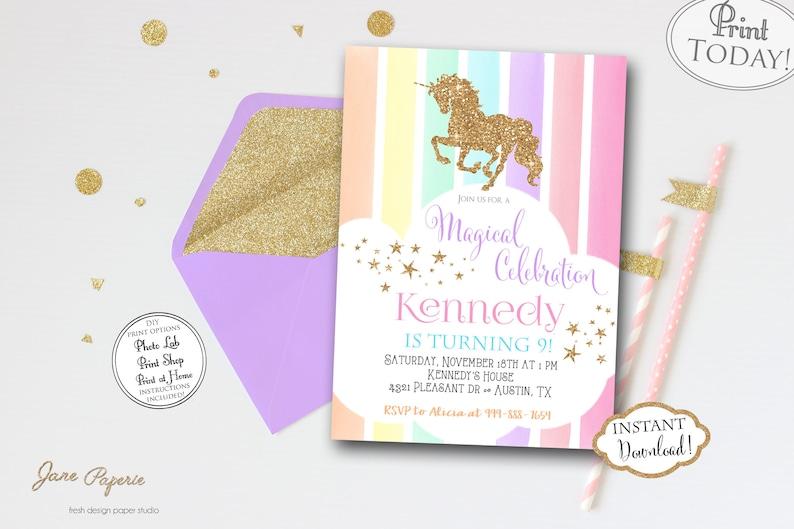 INSTANT DOWNLOAD Pastel Rainbow Unicorn Birthday Party