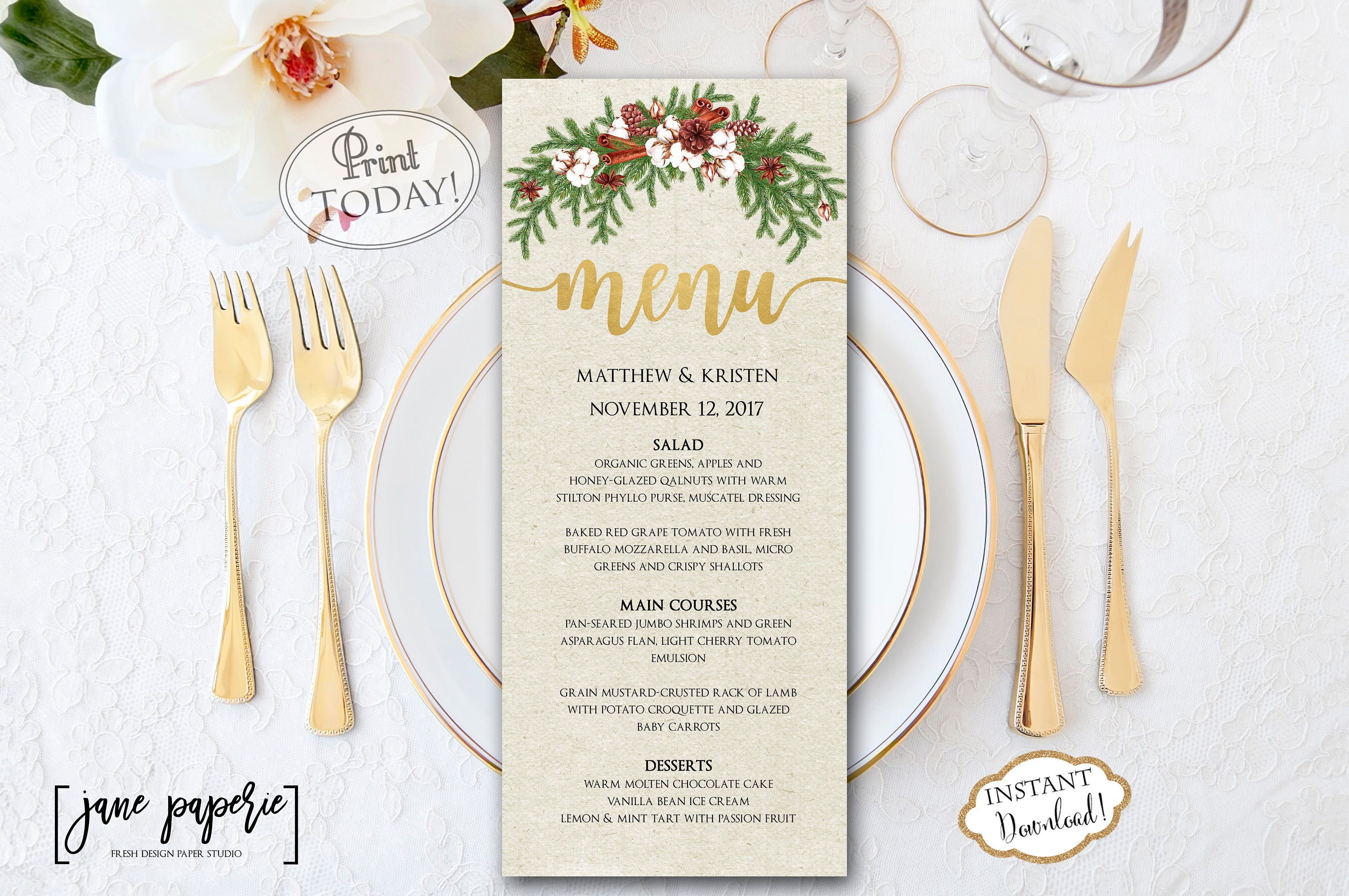 instant download wedding menu template christmas dinner | etsy
